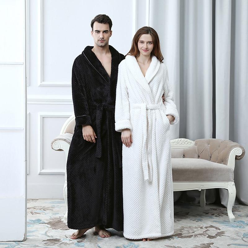 Extra Long Thick Waffle Coral Fleece Winter Warm Bath Robe Men Women Flannel Kimono Bathrobe Male Dressing Gown Mens Nightwear
