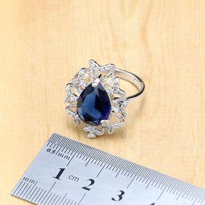 Image 4 - הפרזה כחול זירקון אבן לבן CZ 925 כסף סטרלינג נשים חתונה עגילים/תליון/שרשרת/טבעות/צמיד