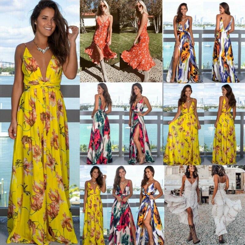 Women Boho Maxi Dress Ladies Cocktail Party Evening Summer Beach Sundress
