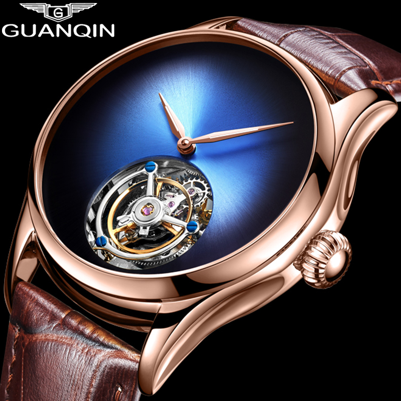 GUANQIN 2019 Tourbillon Men watches top brand luxury 100% real Tourbillon clock men Sapphire mechanical watch Relogio Masculino