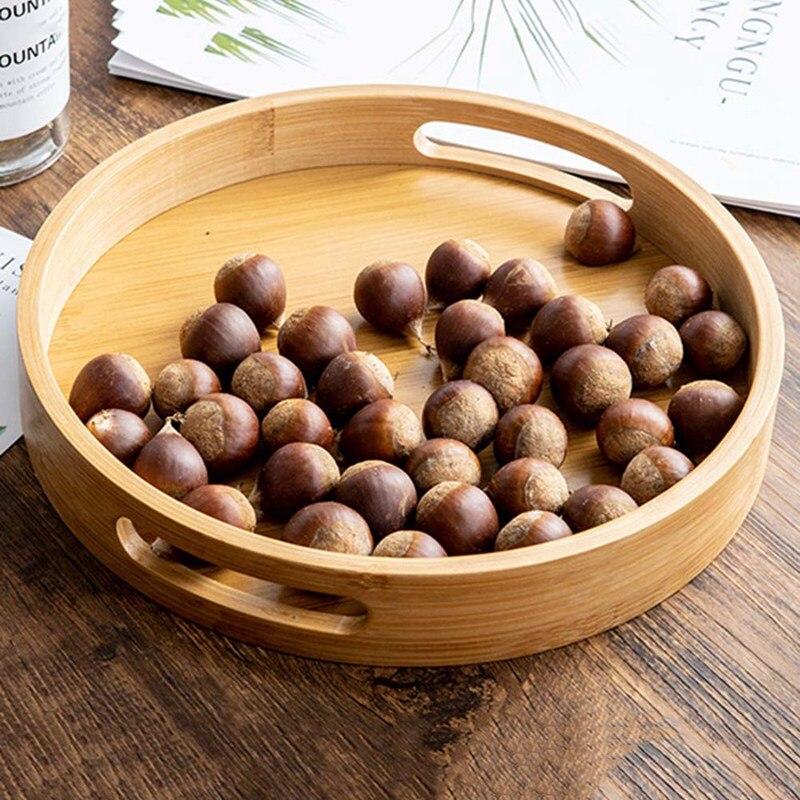 Деревянная круглая сервировочная тарелка, деревянная тарелка для чая, еды, напитков, блюдо для еды, тарелка для ужина, говядины, чая, фруктов, закусок-3
