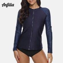 Anfilia Women Long Sleeve Rashguard Shirt Zipper Swimsuit Top Polka Dot Swimwear Surfing Diving Shirts Rash Guard UPF50+