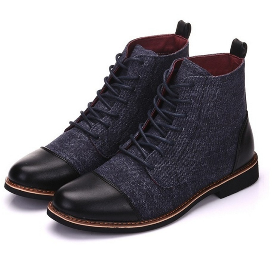 Chelsea Boot Ankle-Shoes Sewing England Casual Warm Anti-Slip Retro Lace-Up No Round-Toe