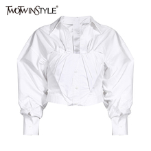 TWOTWINSTYLE Ruched White Blouse For Women Lapel Lantern Sleeve Side Split Casual Short Tops Female 2020 Summer Fashion New Tide
