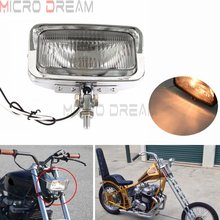 Sólido Retro estilo Rectangular motocicletas faro Vintage ámbar luz personalizada faro para Harley Cruiser Bobber Cafe Racer
