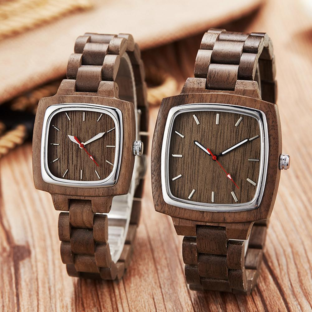 Couple Watches For Women Men Quartz Wristwatches Square Dial No Number Analog Wooden Couple Watches Free Shiping Zegarek Damski