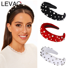 LEVAO Pearl Inlaid Sponge Thickening Padded Headband Elegant Female Bezel Turban Women Hairband Girls Hair Accessories Hoop