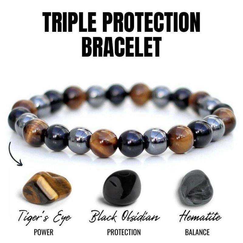 Fashion Natural Stone Bracelet Tiger Eye Triple Protection Hematite and Black Obsidian Bracelet