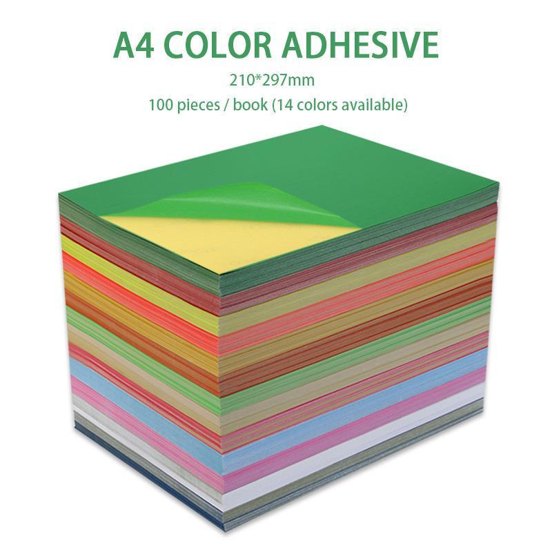 100 Sheets/Bag Of Color Adhesive Printing Paper A4 Adhesive Color Paper Fluorescence Non Drying Adhesive Coloured Paper