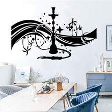 Calcomanía de pared de dibujos animados Hookah Shisha Bar árabe decoración fumar vinilo pegatinas de pared Vintage Lounge pared muebles decorativos Z386