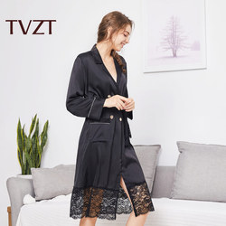 Tvzt 2020 spring and summer new nightgown women solid color sleepwear women comfortable lace wide-sleeved pajamas