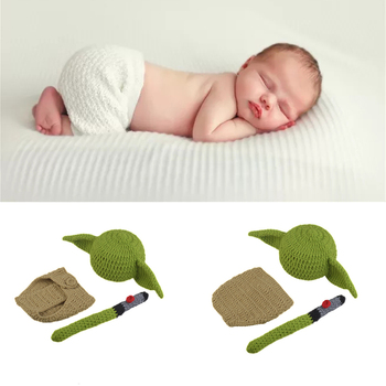 Baby Yoda Star Wars Costume Outfit Infant Newborn Bodysuit Baby Photography Props Accessories Crochet Baby Hat Star Wars Clothes 1set newborn police design photography props infant toddler costume outfit crochet