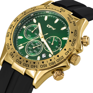 Image 2 - 샴페인 로즈 골드 남성 시계 스톱워치 실리콘 고무 스트랩 크로노 그래프 쿼츠 시계 럭셔리 시계 Relogio Masculino 선물