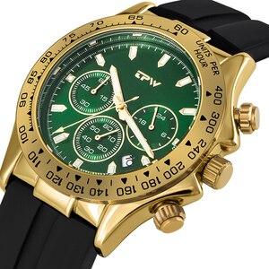 Image 2 - แชมเปญRose Goldนาฬิกาผู้ชายสายยางซิลิโคนChronographควอตซ์นาฬิกาหรูหราRelogio Masculinoของขวัญ