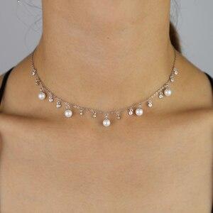 Image 5 - 100% reine 925 Silber Halsketten Anhänger für Frauen Runde Süßwasser Perlen Halskette Feine Büro Schmuck Einfache Design Bijoux
