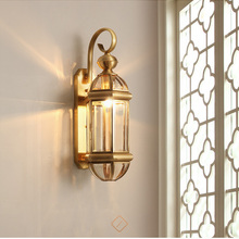 Luz exterior nórdica, luces de pared, lámpara de pared de cobre para exteriores, impermeable, pasillo, balcón, pared exterior, escalera, lámpara led retro