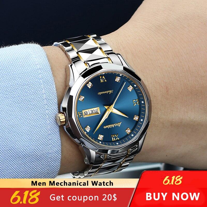 JSDUN Men Automatic Mechanical Watch with Tungsten steel Waterproof Luminous Japan Movement Luxury Business reloj hombre 8813