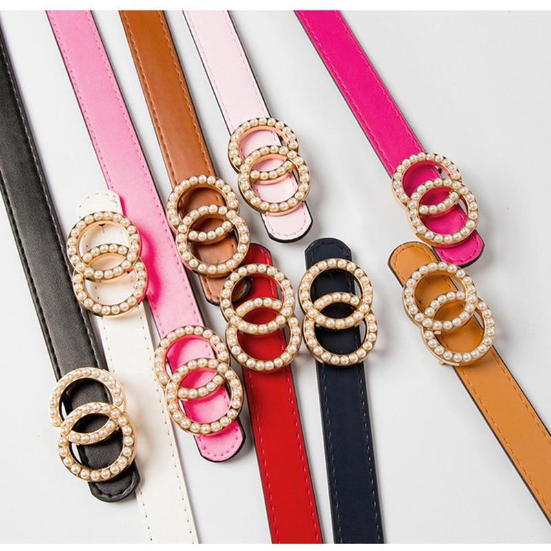 Double Ring Circle Buckle Pearl Belts Luxury Brand Women Leather Belts Girls Wild Jeans Pants Dresses Waist Belts Ceinture Femme
