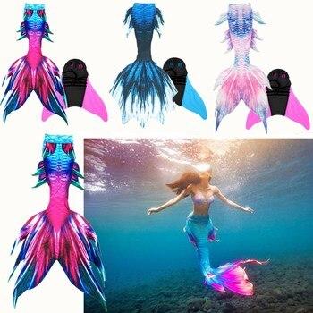 ילדים מבוגרים בת ים זנב מפואר שחייה זנב מונופין קוספליי ילדי בת ים זנבות לשחייה