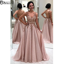 Prom-Dresses Evening-Gown Backless Pearls A-Line Floor-Length Pink Sweetheart Appliques