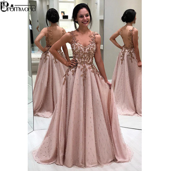 Sweetheart Amazing A-line Appliques Pearls Prom Dresses Long Illusion Backless Floor Length Evening Gown Pink Prom Dress 2020