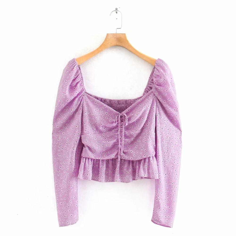 2020 New Women Fashion Bow Decoration Printing Purple Blouse Puff Sleeve Ruffles Shirts Women Femininas Blusas Chic Tops LS6417