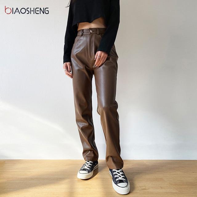 Faux PU Leather Pants For Women Trouser High Waist Straight Leg Pants Fashion Brown Casual Vintage Leisure Pants Streetwear 4