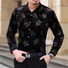 Nowa jesienna i ciepły kaszmir zimowy koszula flanelowa mały wzór kwiatowy mężczyzn złote kwiaty koszule tanie tanio Poliester COTTON Pełna Skręcić w dół kołnierz Pojedyncze piersi REGULAR 2003 Suknem Smart Casual W paski Shirts