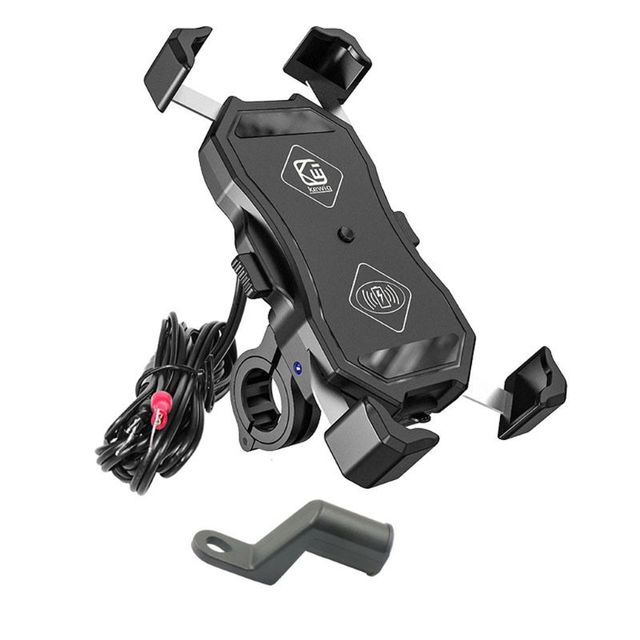 12V Motorcycle QC3.0 USB Qi Wireless Charger Mount Holder Stand for Cellphone