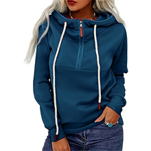 2021 Female Tennis Jackets Solid Color Long Sleeve Hooded Pullover Blouse Sweatshirt With Zipper For Spring Fall, S/M/L/XL/XXL