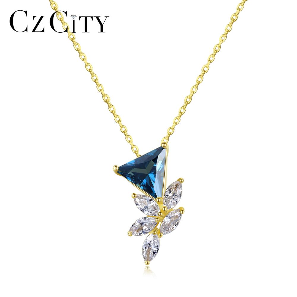CZCITY Topaz Gemstone Pendant Necklaces For Women Wedding Engagement Fine Jewelry 925 Sterling Silver Kolye Femme Christmas Gift
