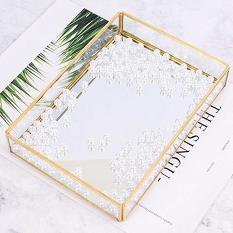 Nórdico Ouro Bandeja De Armazenamento De Vidro Retângulo de Acrílico Organizador de Maquiagem Jóias Display Placa de Sobremesa Do Vintage Home Decor