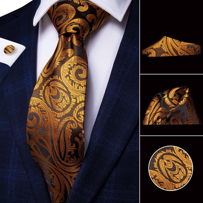 Hi-Tie Mens Tie 8.5cm Gold Black Striped Floral Silk Wedding Tie For Men Design Hanky Cufflink Quality Men Tie Set Dropshipping