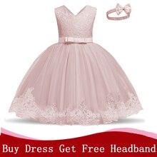Элегантное кружевное платье с цветочной вышивкой для девочек, платье для новорожденных, Одежда для младенцев, детское платье для дня рожден...