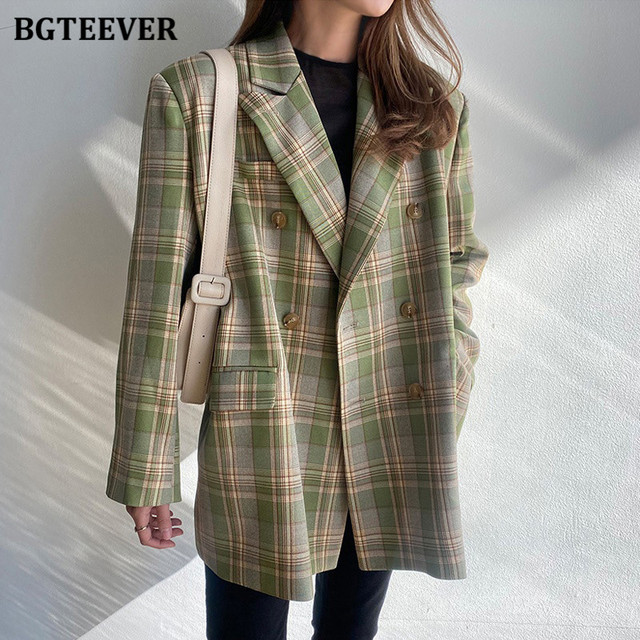 BGTEEVER-veste Vintage à carreaux pour femme, manches longues, veste Chic et élégante, croisé, automne 2020 2