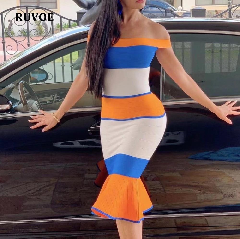 2019 Lady's New Bandage Dress Slash Neck Slim Fishtail Summer Dress Women Elegant Bodycon Club Party Dress KS 72