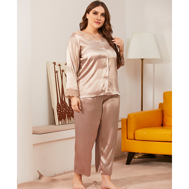 Oversize Lace Long-Sleeved Trousers Suit Polyester Sleepwear Silk Like Leisure Home Clothes Nightwear Pajamas for Women