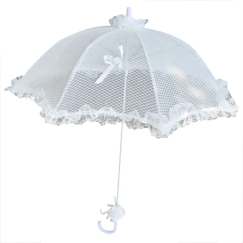 Free Shipping Wedding Bridal Parasol Umbrella Hollow Lace White Romantic Photo Props Decorative Umbrellas Flower Girl