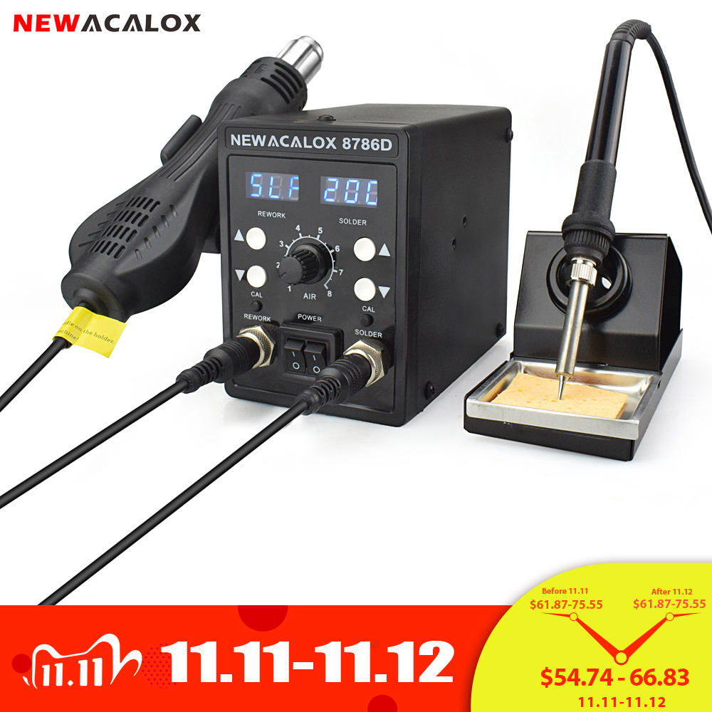 NEWACALOX Soldering-Station-Repair 8786D Smd-Rework Blue Welding Digital 750W 2-In-1