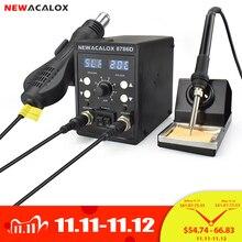 NEWACALOX 8786D 878 750W niebieski cyfrowy 2 W 1 SMD Rework stacja lutownicza naprawa spawanie zestaw do lutowania PCB rozlutownica narzędzie