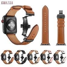 Bracelet en cuir pour apple watch 5 4 bandes correa apple watch 42mm 38 mm 44mm 40mm iWatch 4 3 2 papillon boucle pulseira bracelet de montre