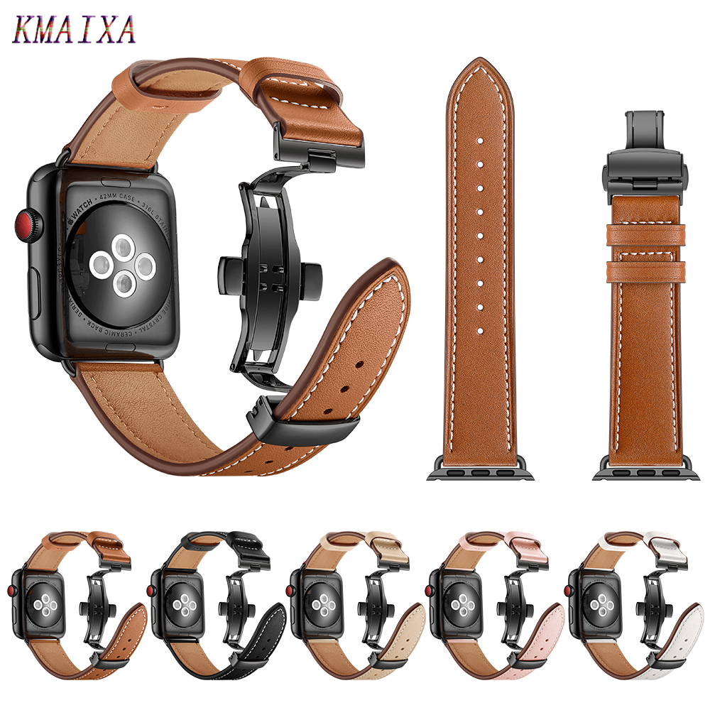 Leather Strap For Apple watch 5 4 band correa apple watch 42mm 38 mm 44mm 40mm iWatch 4 3 2 Butterfly buckle pulseira watchbandWatchbands   -