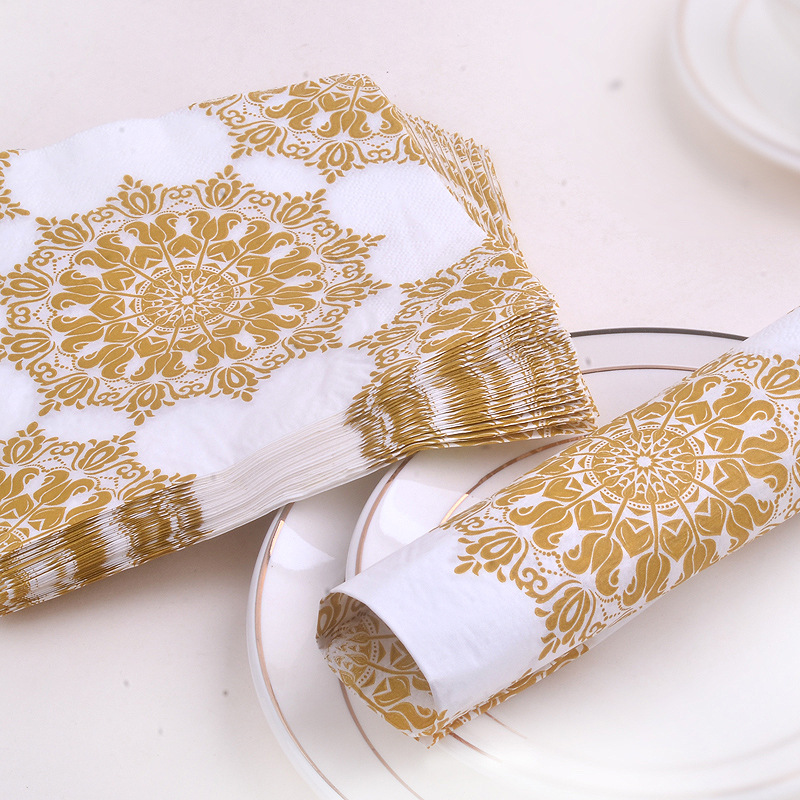 Manufacturers Direct Selling Gold Napkin Printed Paper Placemat Hotel Banquet Paper Cups Stained Paper 20 Wood Pulp Paper Napkin