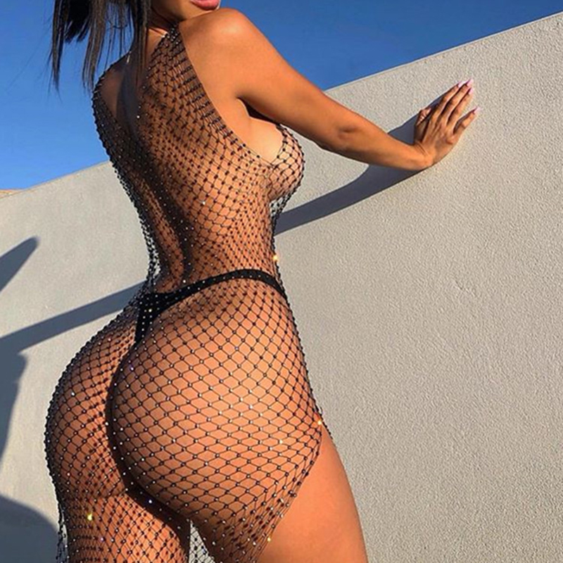 Glisten Rhinestones Fishnet Dress Sleeveless V-Neck See Through Side Slit Dress Summer Sexy Beach Cover Up Breathable Vestidos