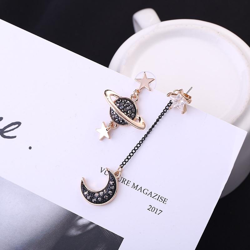 Hot Style Korean Edition Earrings Asymmetrical Star Moon Zircon Star Long Earrings Wholesale