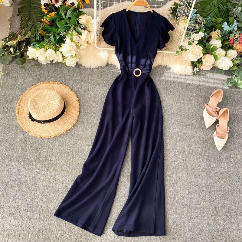 Fashion Slim 2020 Ruffles Jumpsuits V Neck Rompers Office Summer Full Length Jumpsuit Casual Women Elegant Playsuit Tie Romper