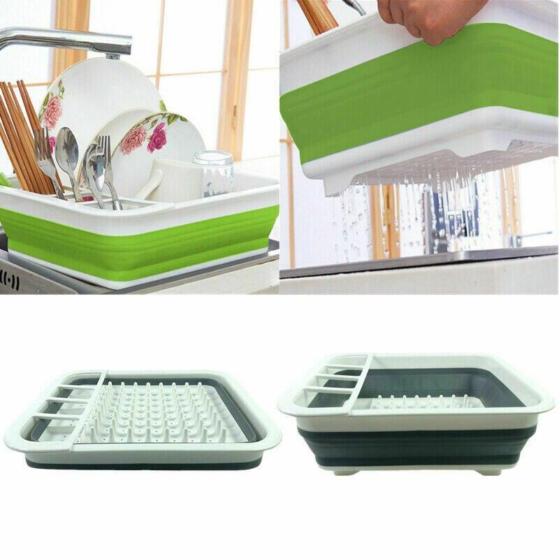 4-IN-1 Multifunction Kitchen Collapsible Dish Drainer Rack Folding Bowl Drain Rack Tableware Holder Fruit Basket Organizer