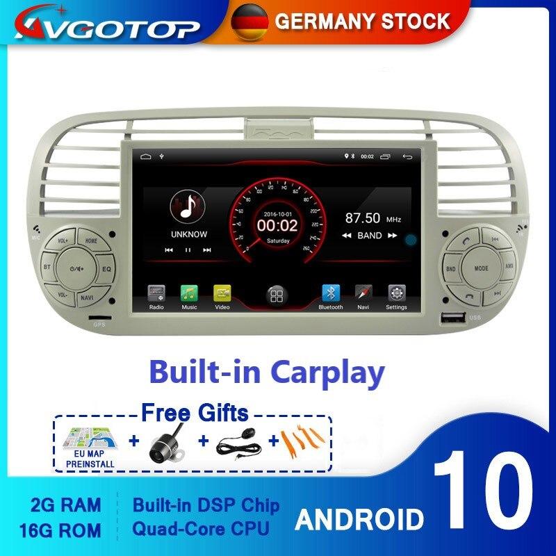 AVGOTOP Android 10 Bluetooth GPS Автомобильный плеер мультимедиа для FIAT 500 2G 16G радио автомобиля
