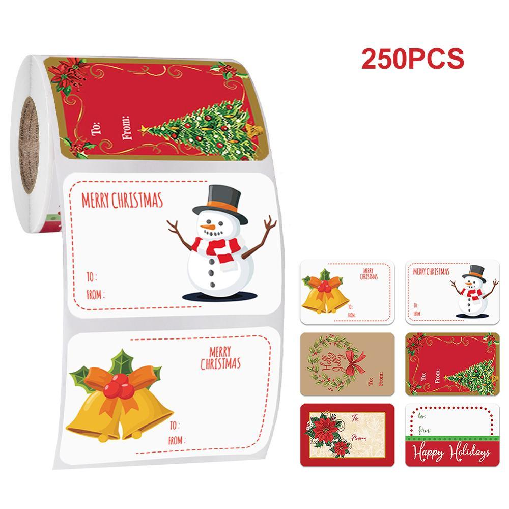 250 шт./рулон 6 видов конструкций клей Рождественский подарок Именные Бирки рождественские стикеры подарок этикетки для печати стены Рождест...
