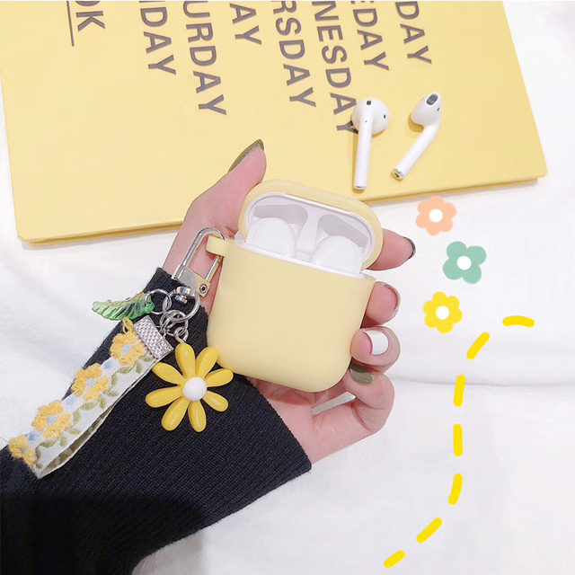 Luxury Cute Korean Flower Decoration Case for Apple Airpods Case ornament Accessories Bluetooth Earphone Silicone Cover Key Ring 3